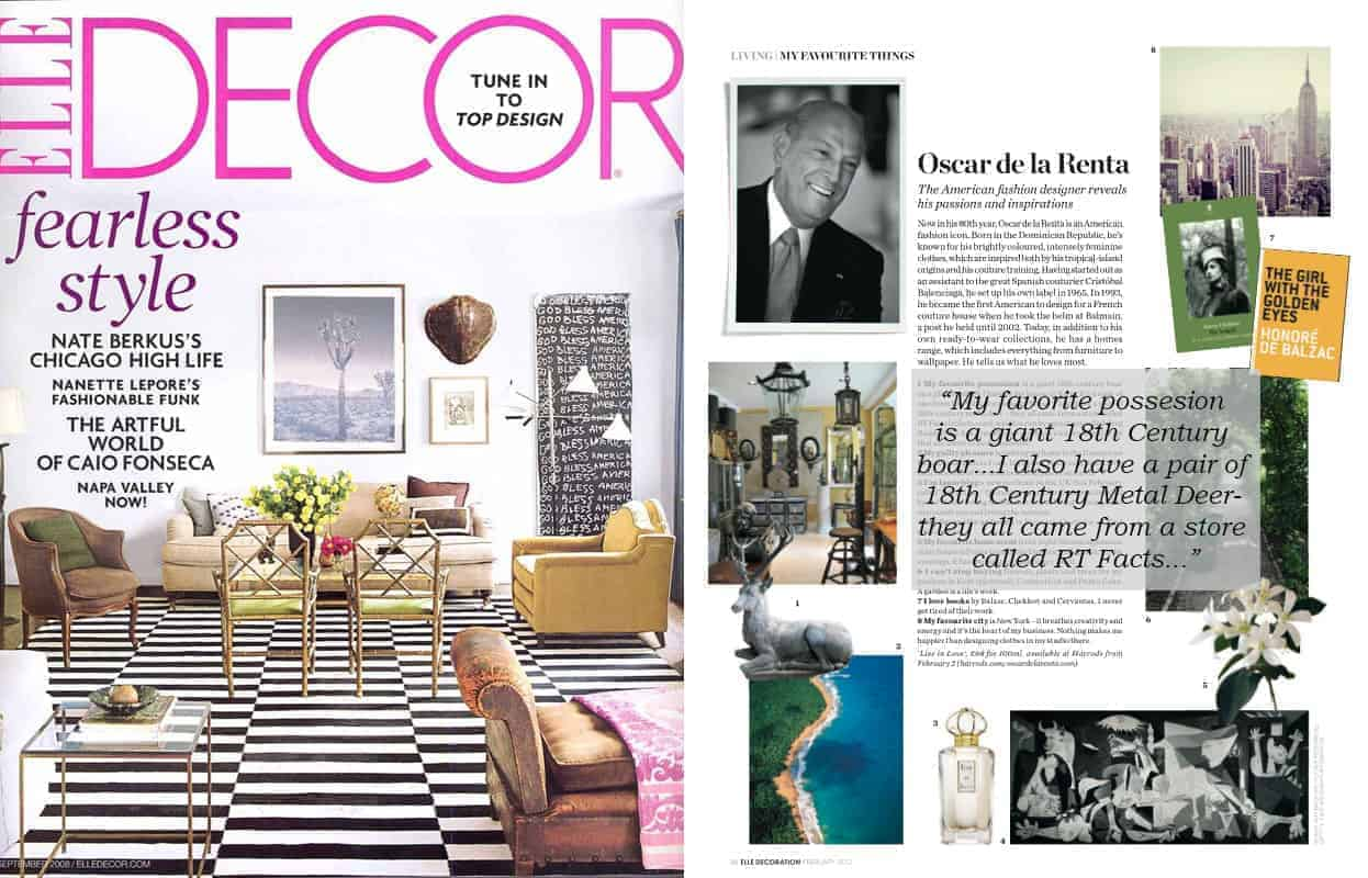 Oscar De La Renta Favorite Things elle decor