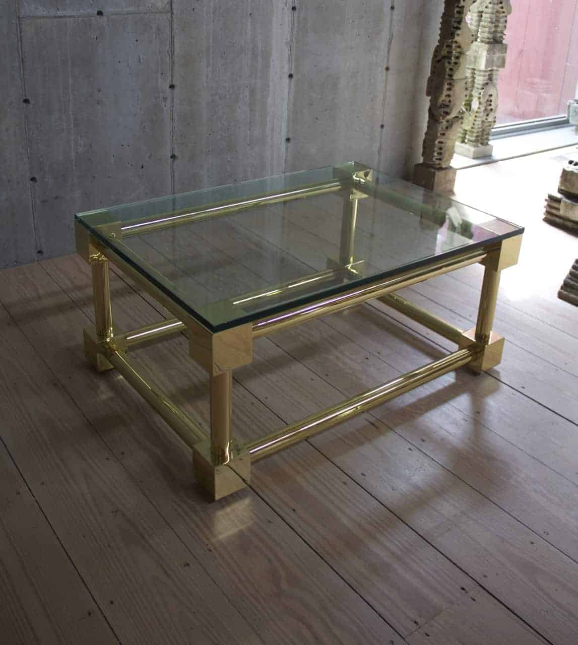 Antique Polished Brass Coffee Table With Glass Top