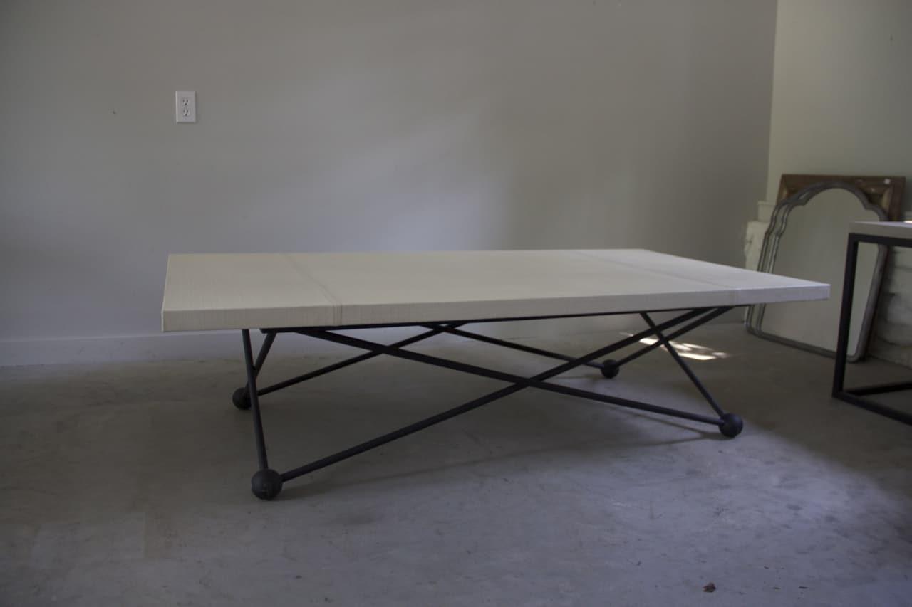 Homeu003e RT FACTS DESIGNu003e Tablesu003e Coffeeu003e Atom Base Coffee Table With Linen  Wrapped Top