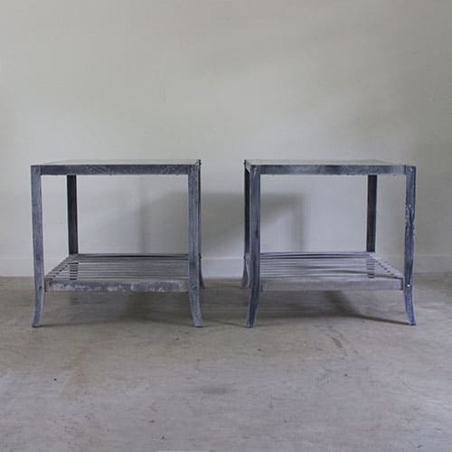 pair of zinc top side tables