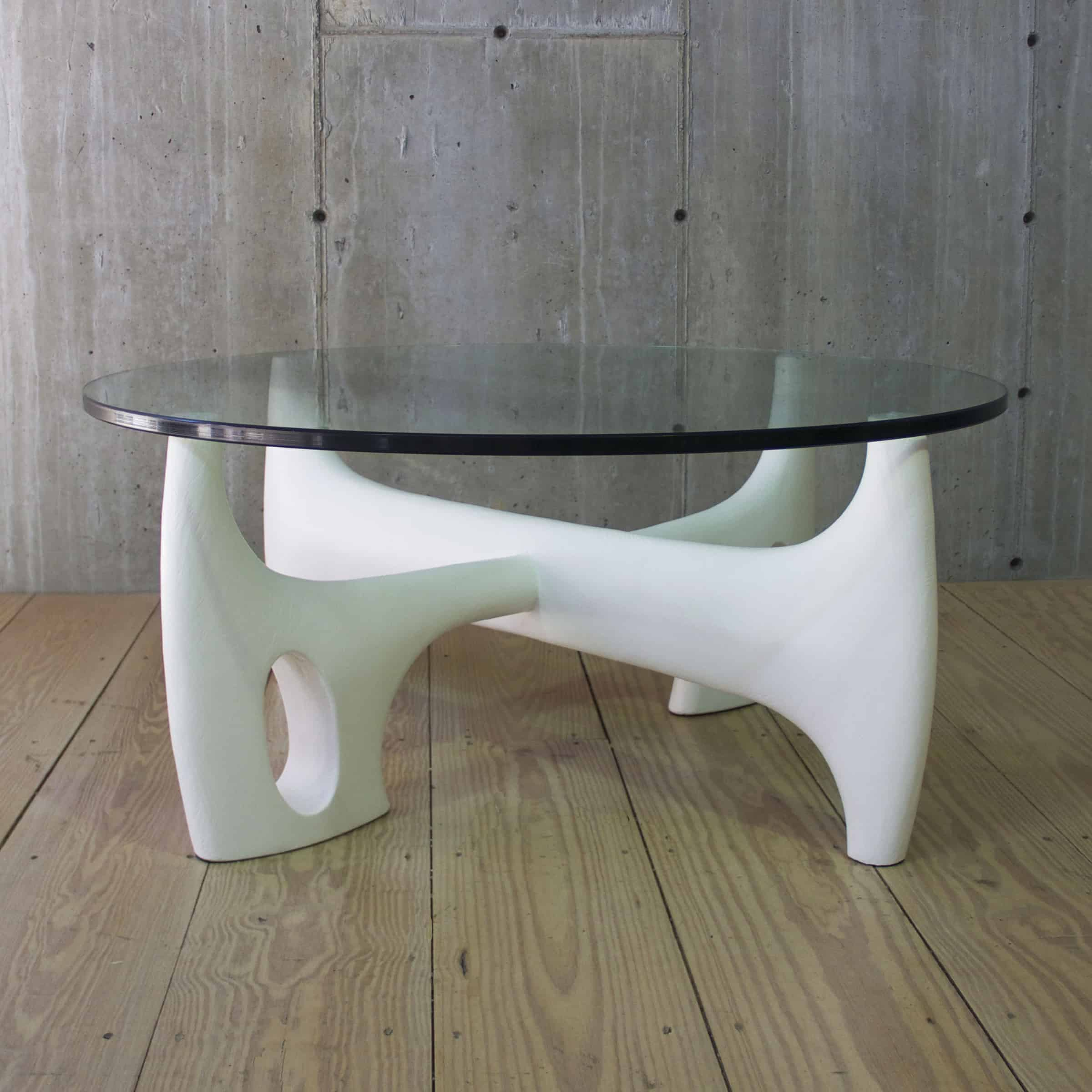 Sculpteur Coffee Table Base With Gesso Finish For Round Top Rt