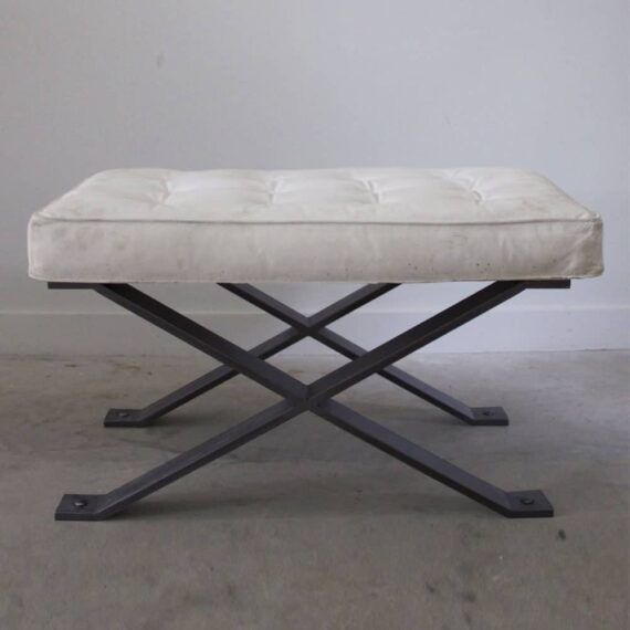 blackened steel pillow top stool