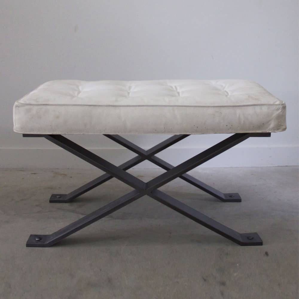 Cast Stone Pillow Top Bench With Darkened X Base