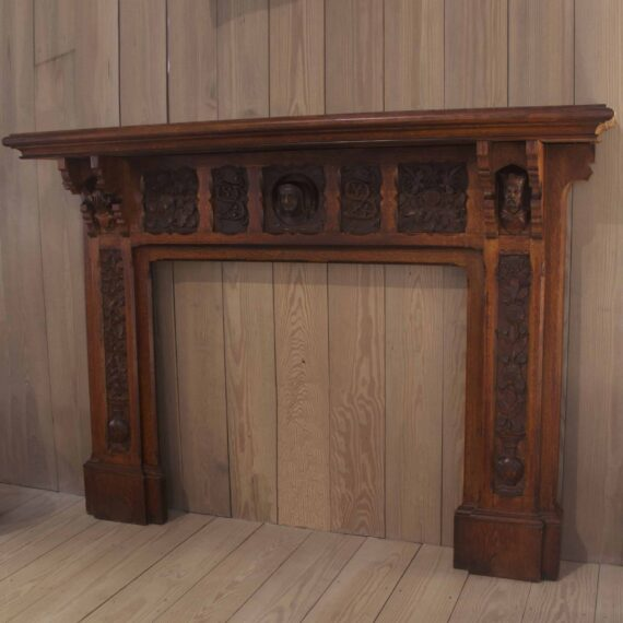 carved wood mantle