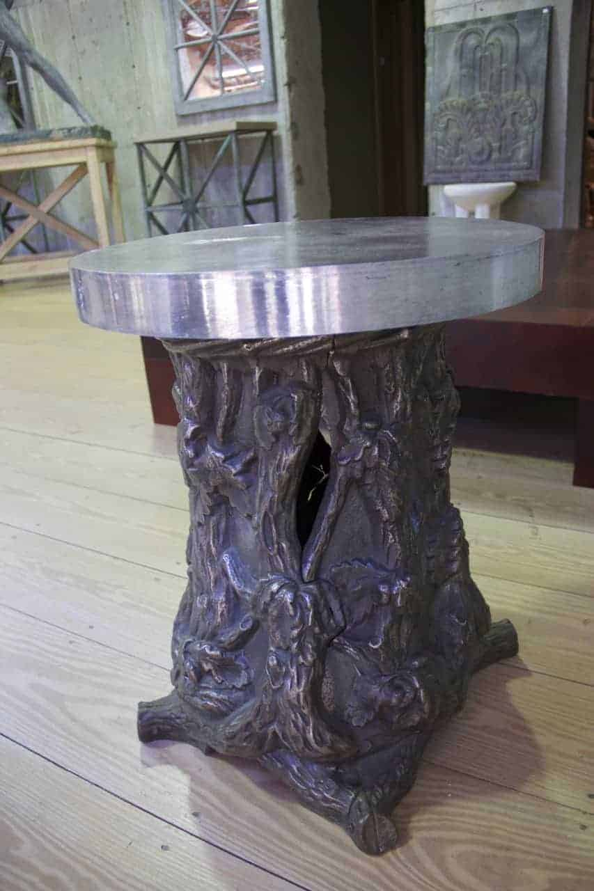 Metal Faux Bois Table with Chrome Top  RT Facts