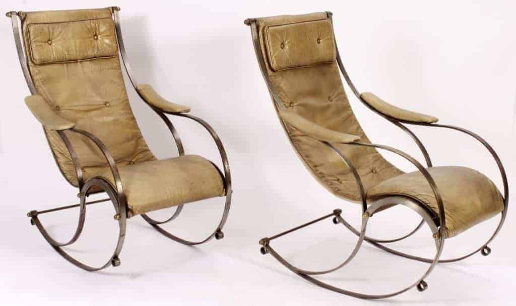 Strange Sold Pair Of Steel And Brass Rocking Chairs With Vintage Squirreltailoven Fun Painted Chair Ideas Images Squirreltailovenorg