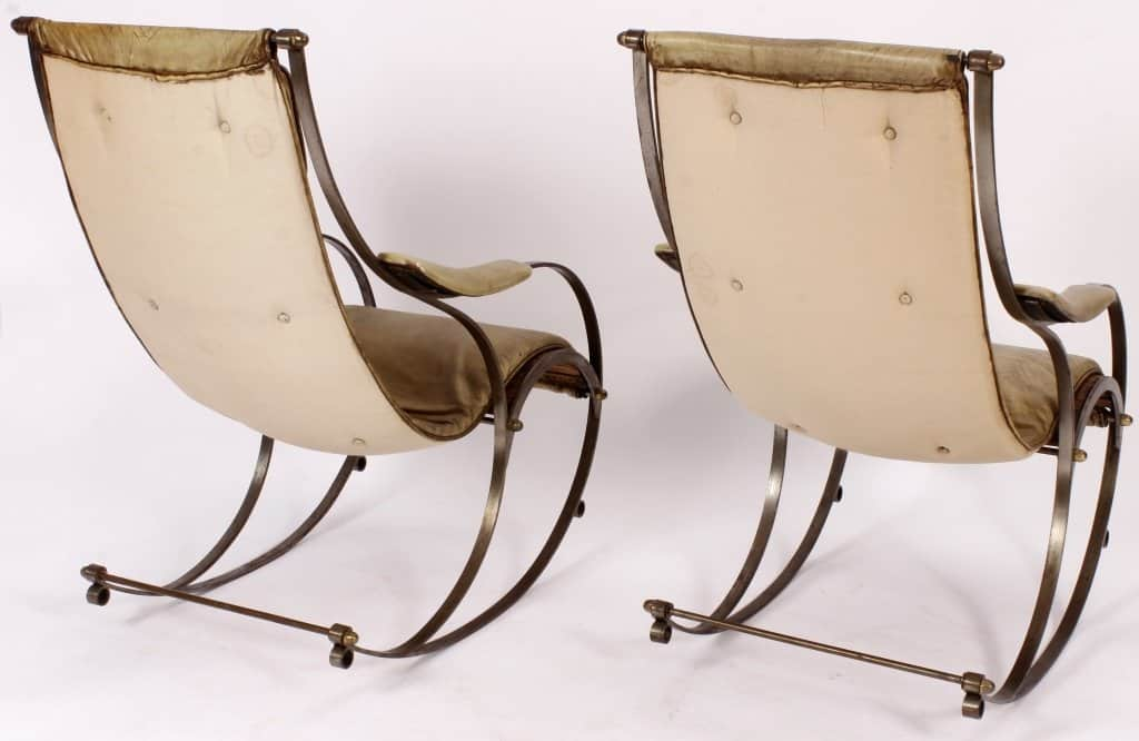 Tremendous Sold Pair Of Steel And Brass Rocking Chairs With Vintage Squirreltailoven Fun Painted Chair Ideas Images Squirreltailovenorg