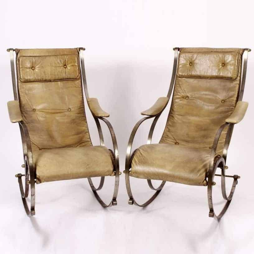Wondrous Sold Pair Of Steel And Brass Rocking Chairs With Vintage Squirreltailoven Fun Painted Chair Ideas Images Squirreltailovenorg