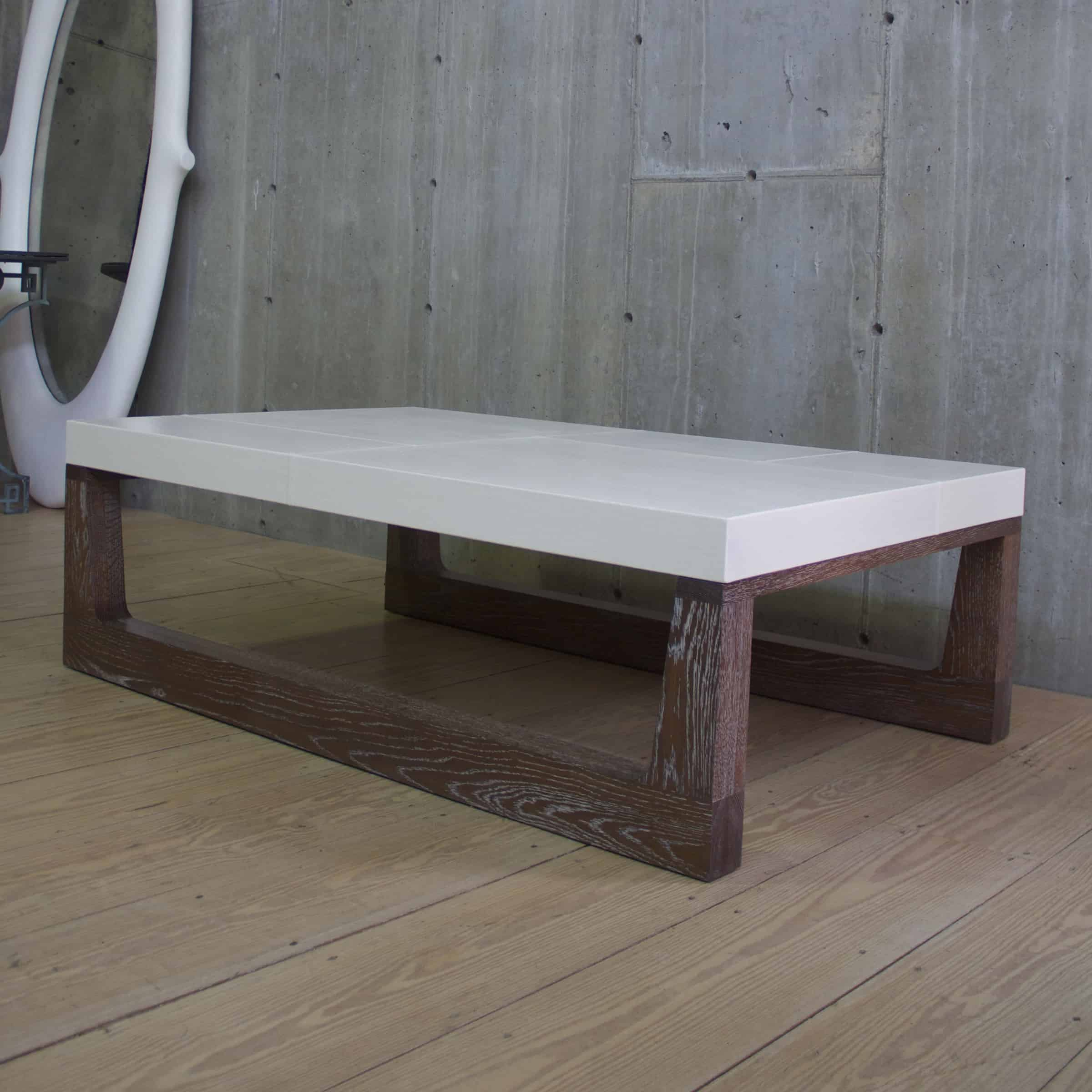 Modern Dark Cerused Oak Sled Coffee Table With Linen Top Rt Facts