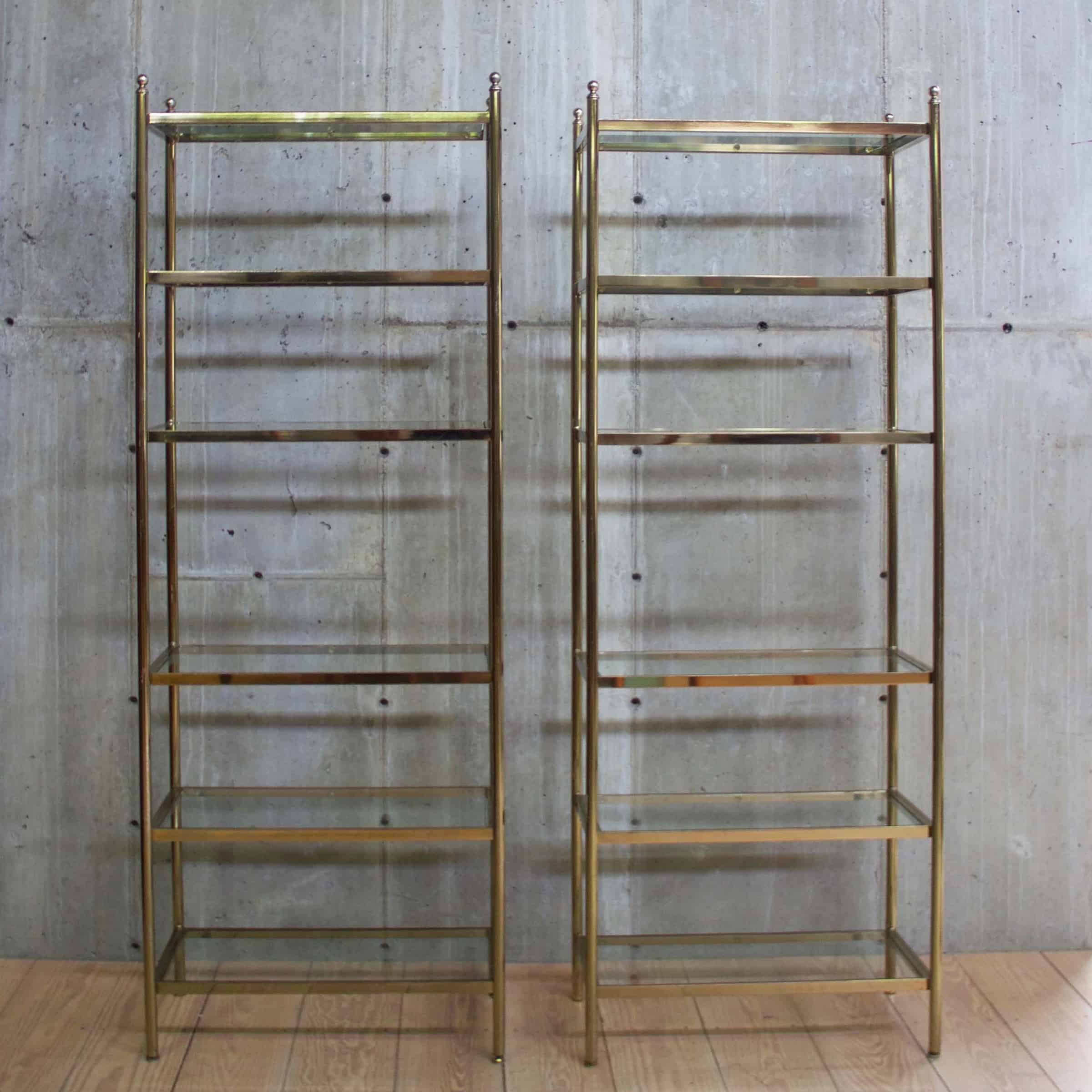 pair of vintage brass etageres with glass inserts rt facts. Black Bedroom Furniture Sets. Home Design Ideas
