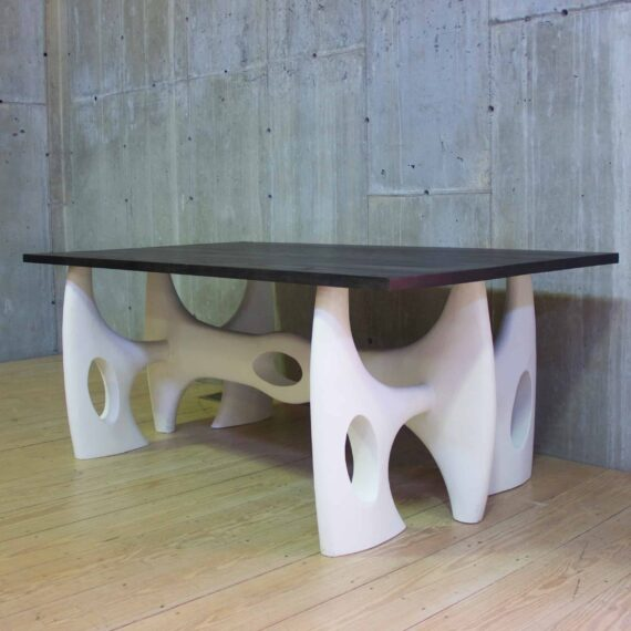 sculpture table with ebonized top