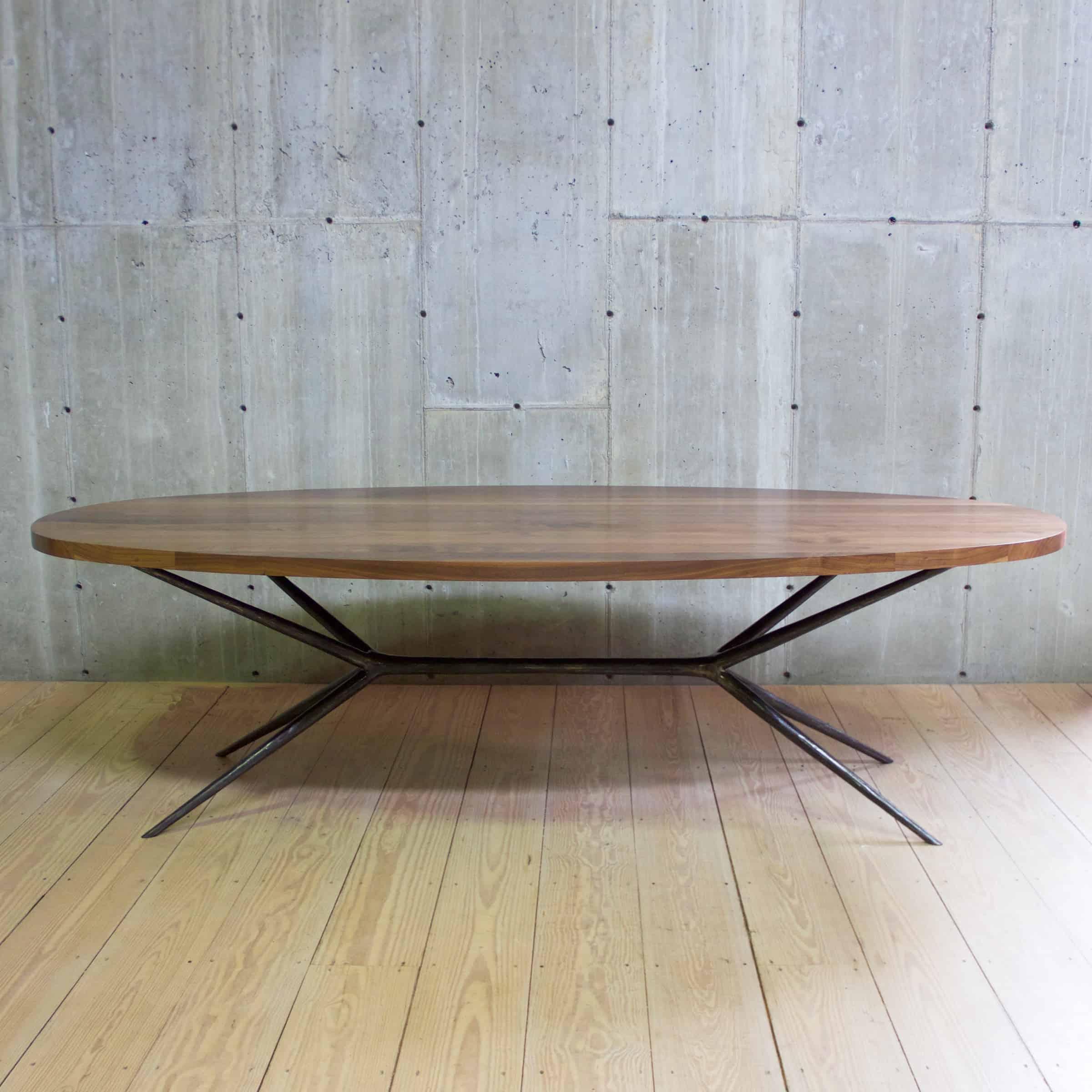 Italian Job 104 Dining Table Blackened Steel Ellipse Walnut Top