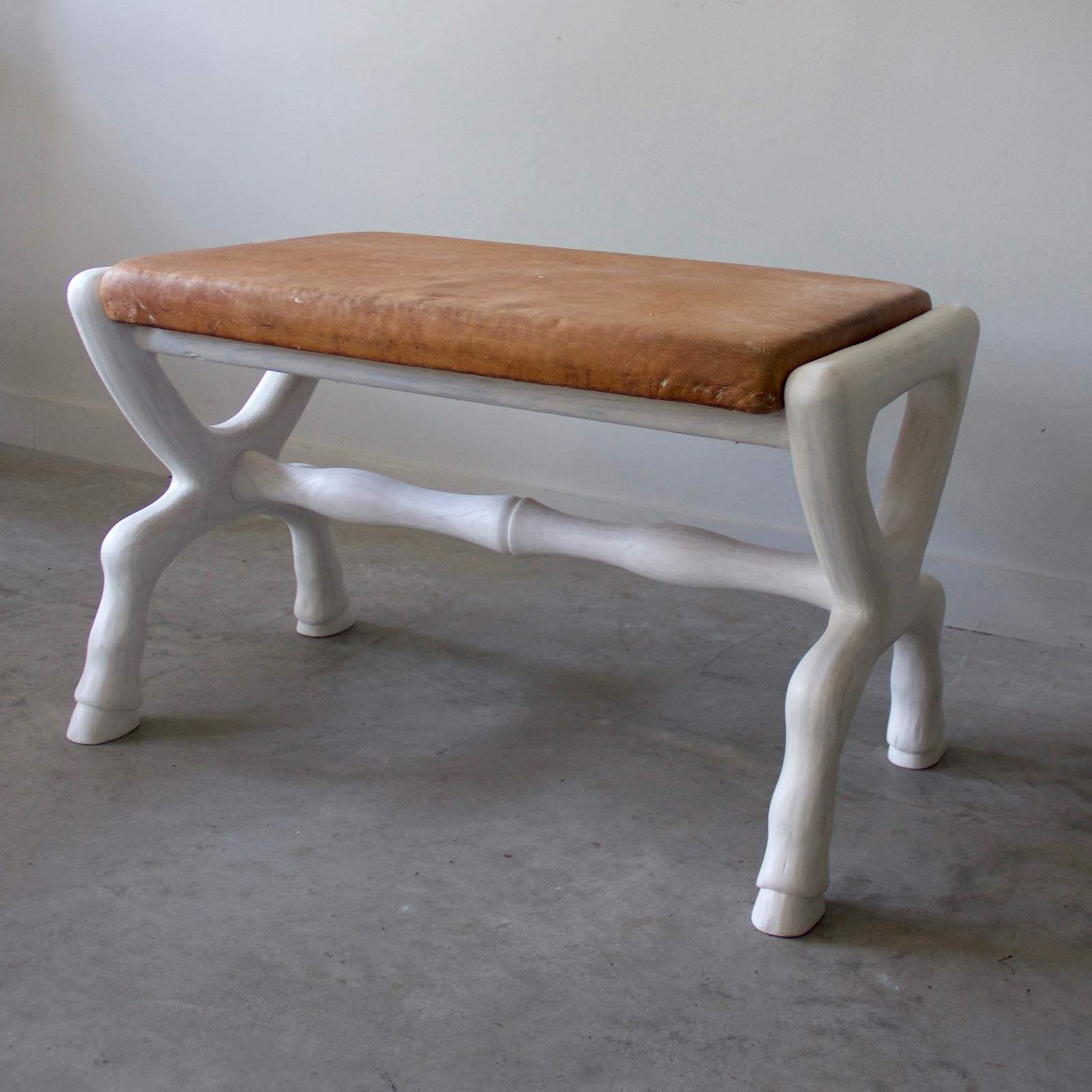 White Washed Equestrian Bench With Belgian Leather Top